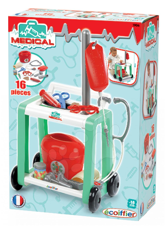 Lékařský vozík pro děti Medical Écoiffier s infuzí od 18 měsíců zelený 16 doplňků