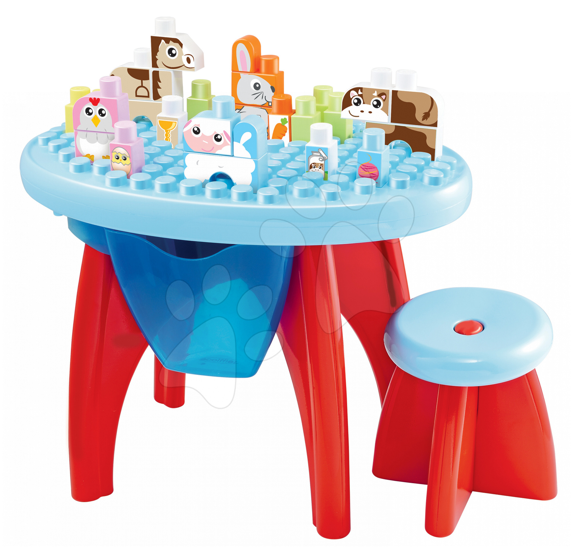 Stavebnice pro děti Maxi Abrick Écoiffier s didaktickým stolem a kostkami s IML potiskem od 12 měsíců 35 ks