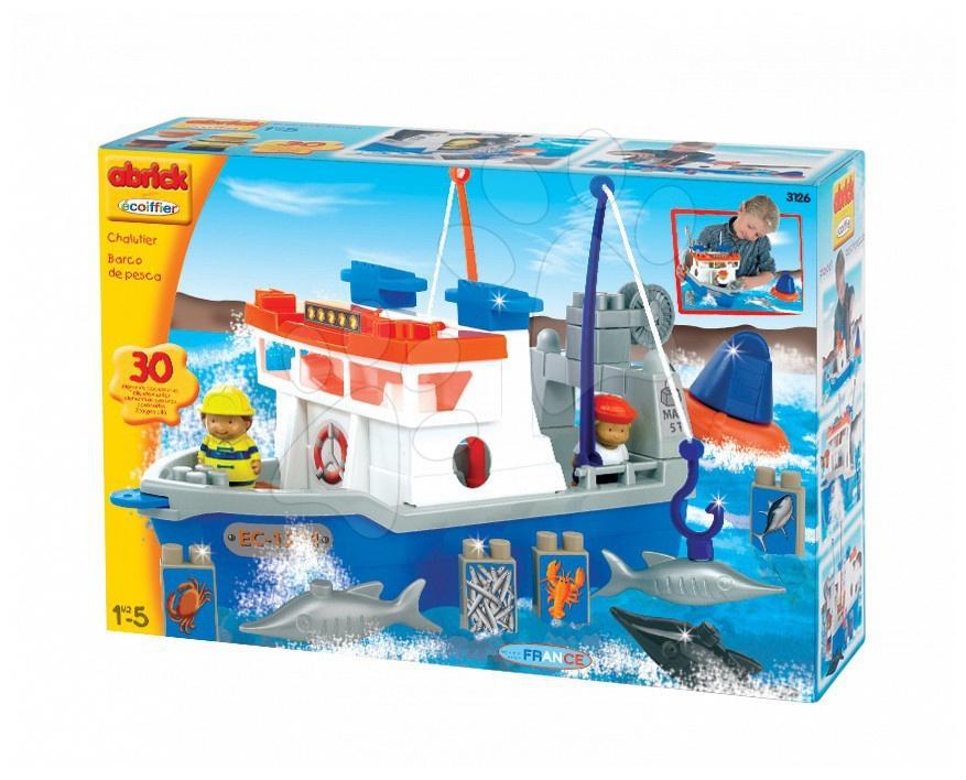 Joc de construit Abrick Écoiffier barcă de pescuit, 30 de piese de la 18 luni