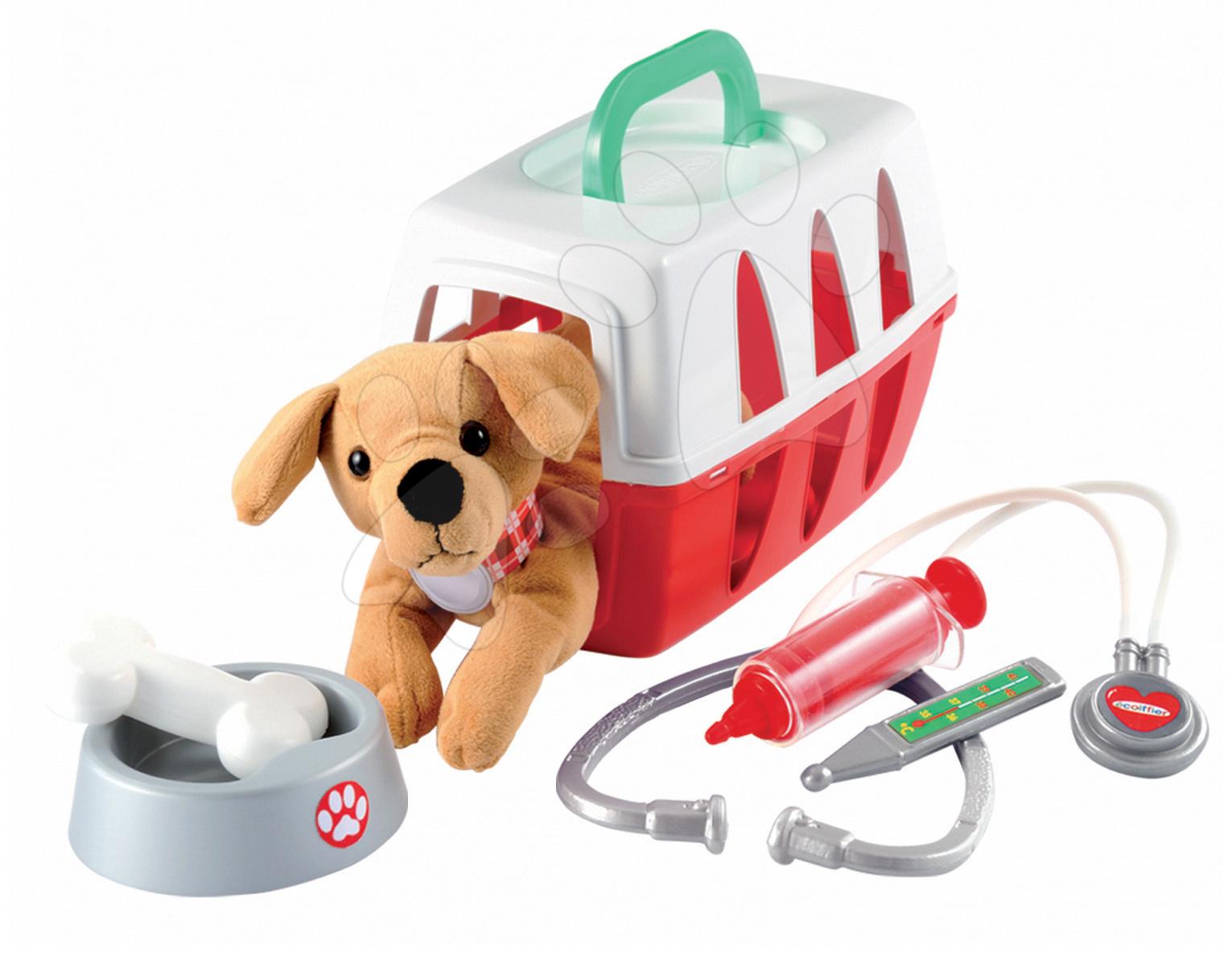 Lékařské vozíky pro děti - Lékařský košík Écoiffier pro pejska s mističkou a lékařskými doplňky od 18 měsíců
