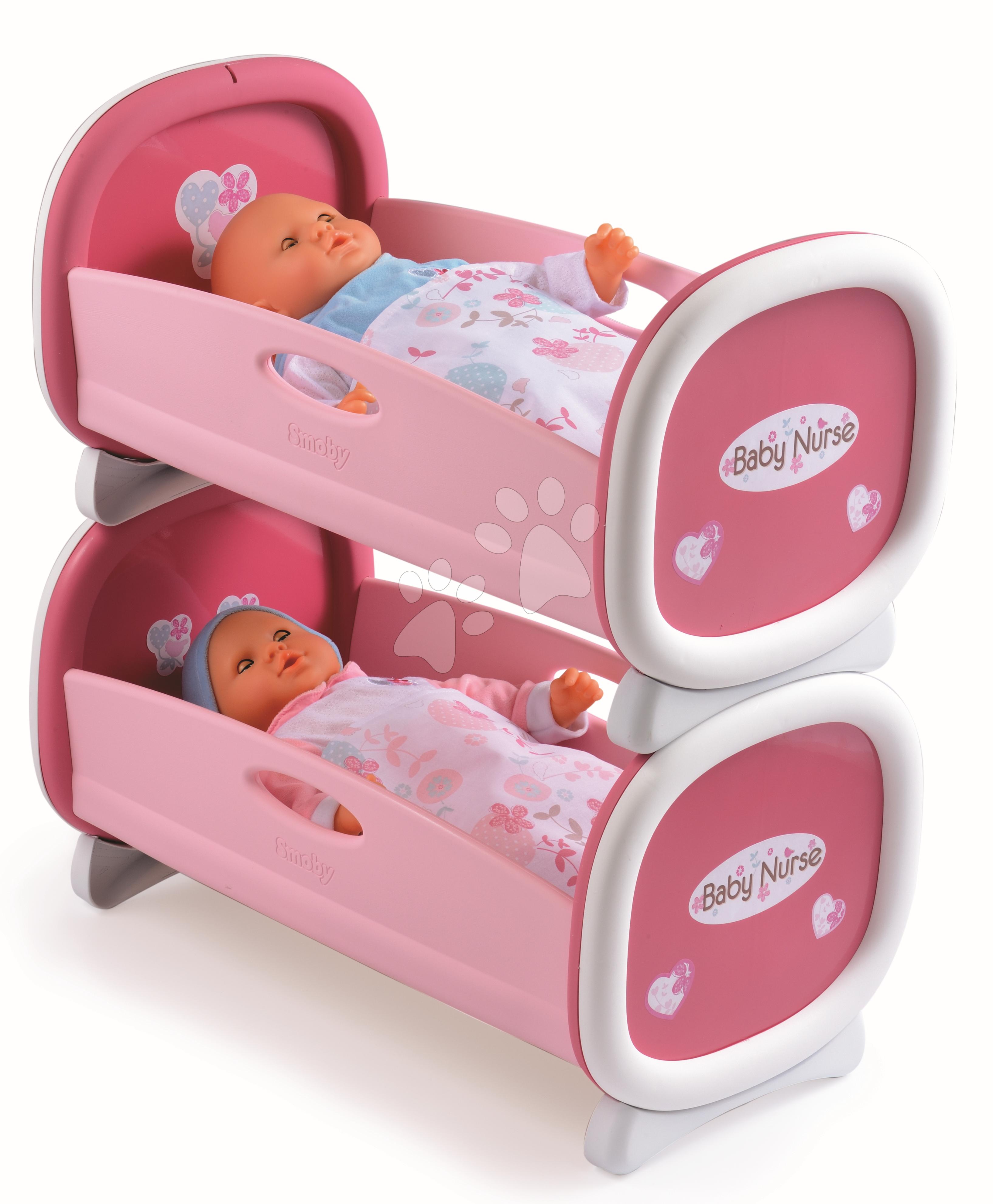 Postieľky a kolísky pre bábiky - Kolíska pre dve bábiky do 42 cm Baby Nurse Smoby poschodová od 24 mes