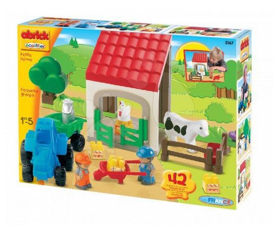 Joc de construit Fermă mică cu tractor Abrick Écoiffier 42 de piese de la 18 luni