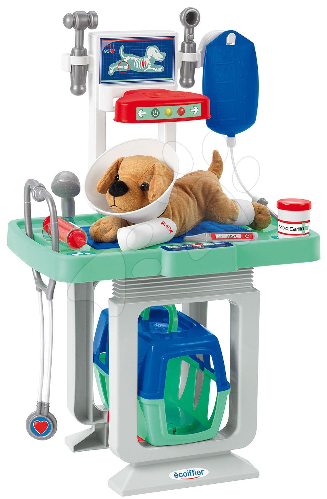 Lékařské vozíky pro děti - Zvěrolékařský vozík s pejskem Medical Écoiffier s infuzí a 15 doplňky od 18 měsíců