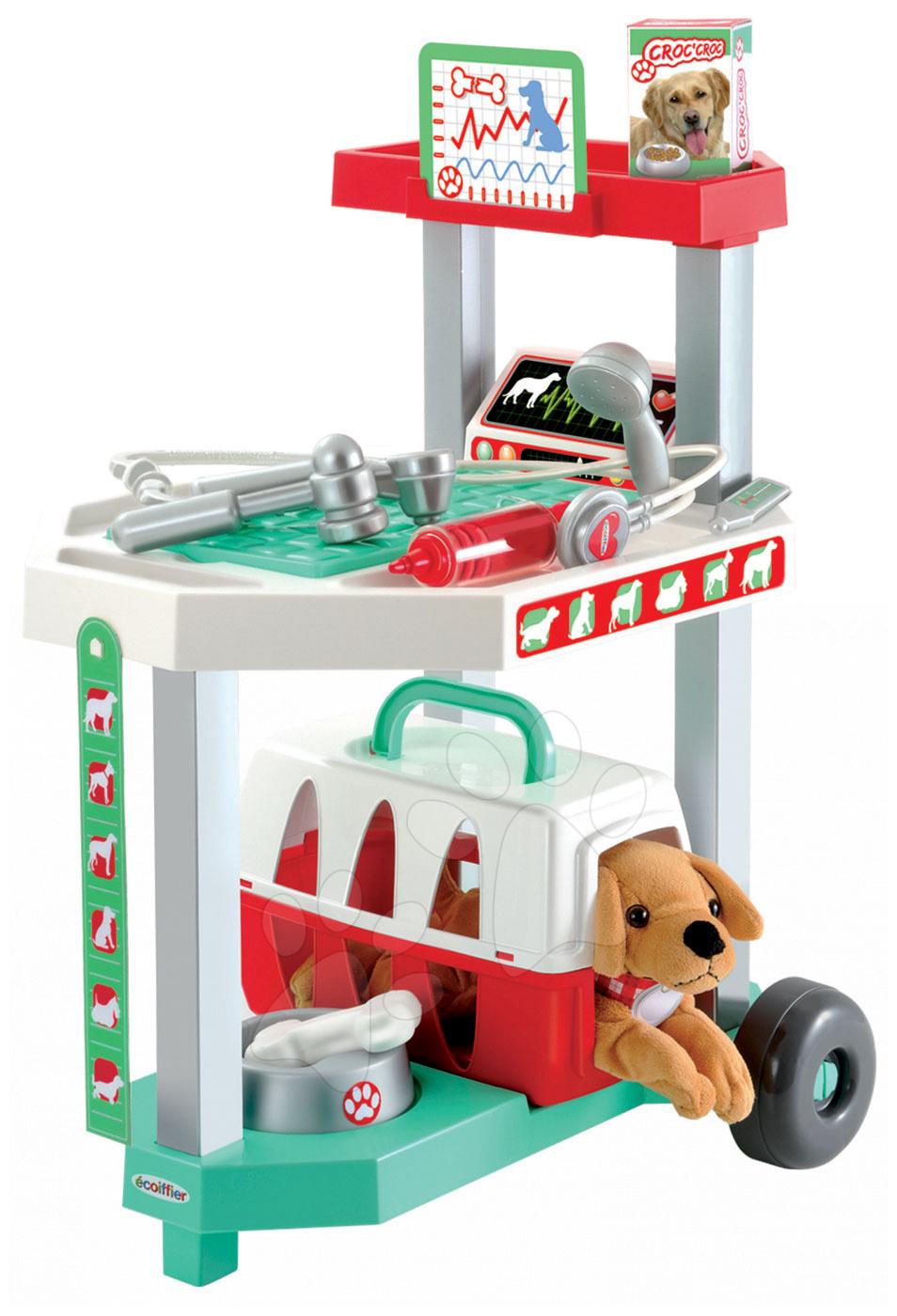 Lékařské vozíky pro děti - Veterinární klinika Écoiffier s pejskem v košíku 15 doplňků od 18 měsíců