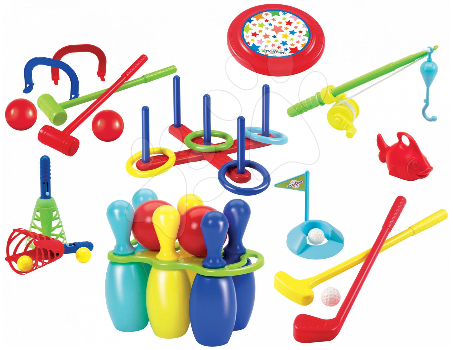 Sportovní hry pro nejmenší - Sportovní set 7 her Jardin Saisons Écoiffier kuželky, rybičky, golf, pólo, míčky a talíř na házení