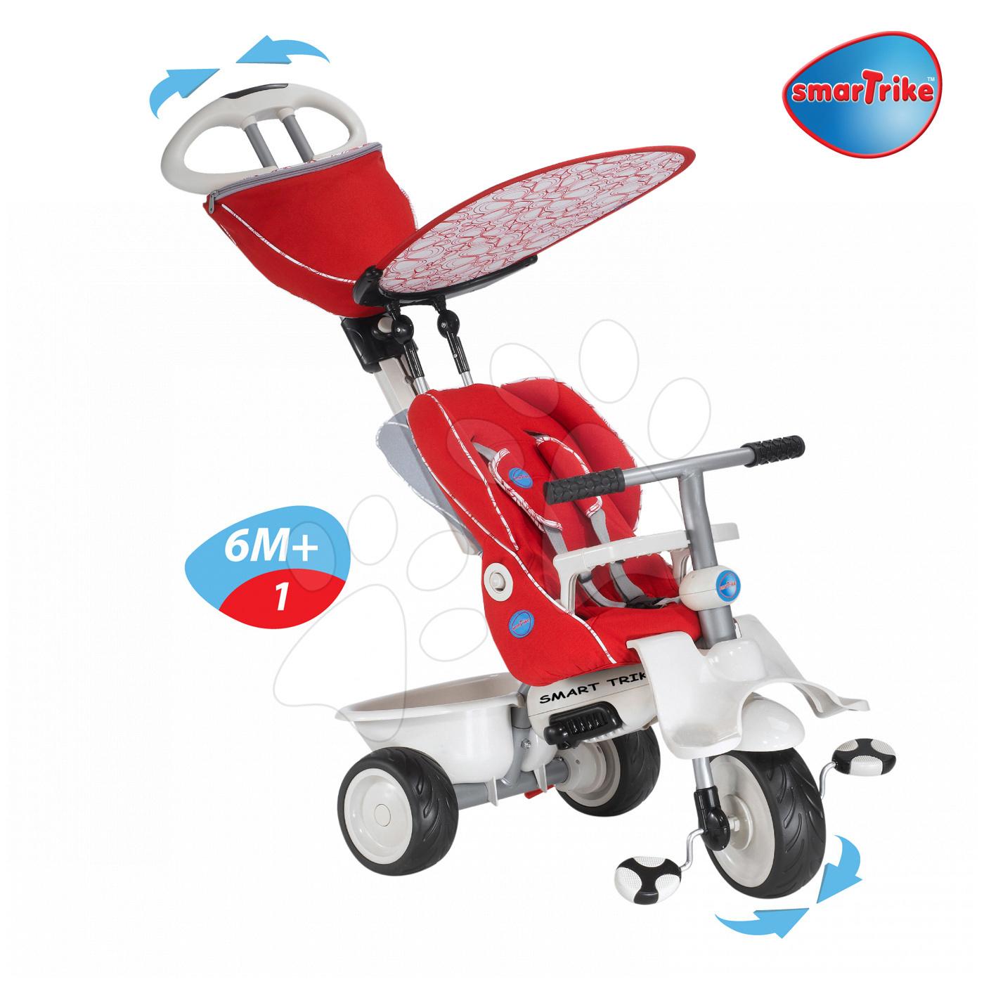 Tricicletă Recliner 4in1 smarTrike cu spătar rabatabil şi husă de ploaie bordo-gri de la vârsta de 6 luni