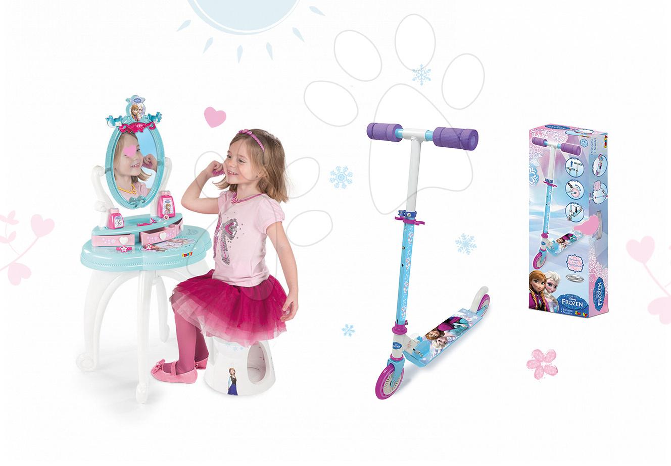 Set dětský kosmetický stolek Frozen Smoby se židlí a dvoukolová koloběžka Frozen