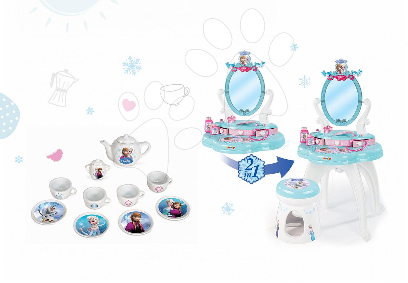 Set kosmetický stolek pro děti Frozen Smoby se židlí a porcelánová čajová souprava Frozen