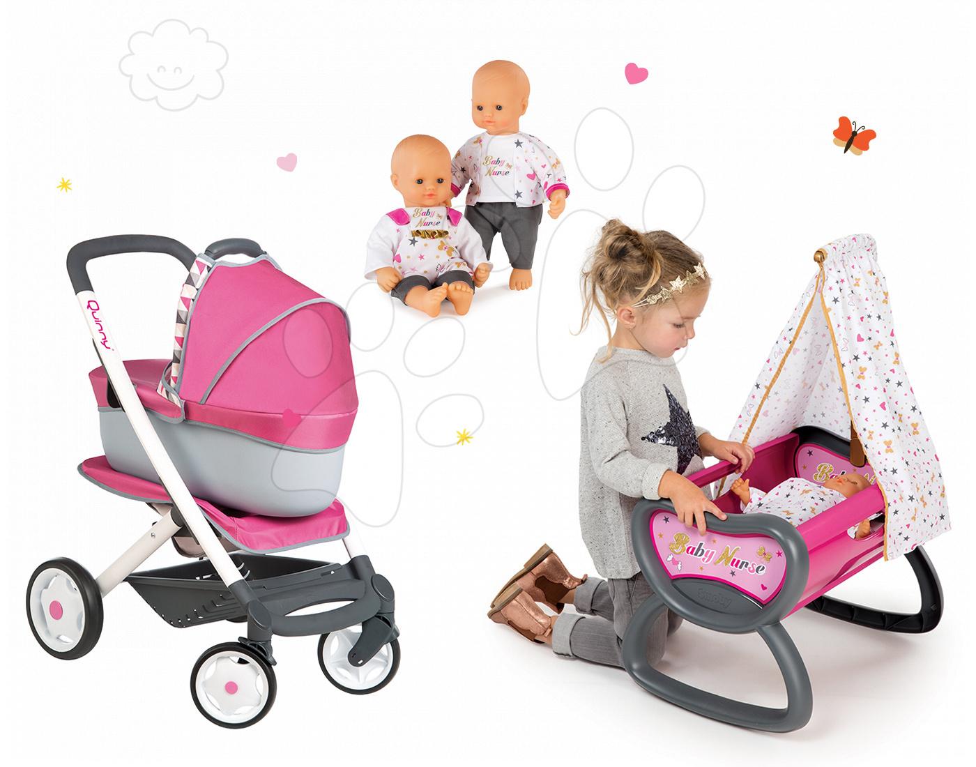 Set kočík retro Maxi Cosi&Quinny Smoby 3v1 s nosítkom pre bábiku, bábika a kolíska s baldachýnom