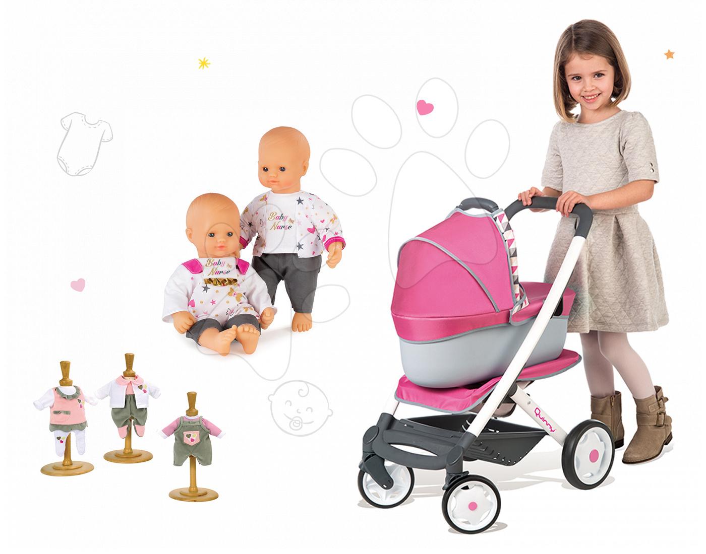 Set kočárek retro Maxi Cosi&Quinny 3v1 Smoby s nosítkem, panenka Baby Nurse a 3 šaty