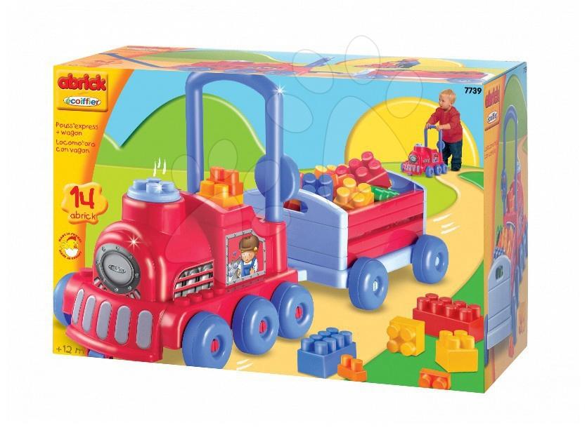 Premergător Abrick Écoiffier cu cuburi de construit în formă de tren de la 12 luni