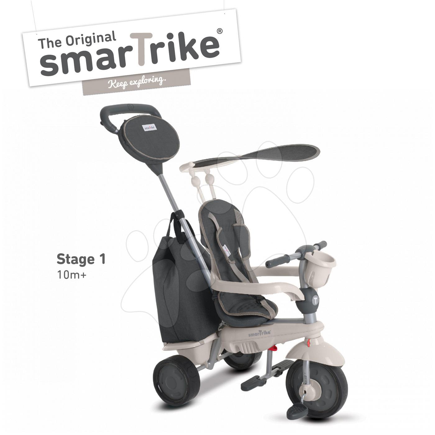 Tricicletă Voyage Touch Steering 4in1 smarTrike cu 2 genți și parasolar culoare gri-crem de la 10 luni
