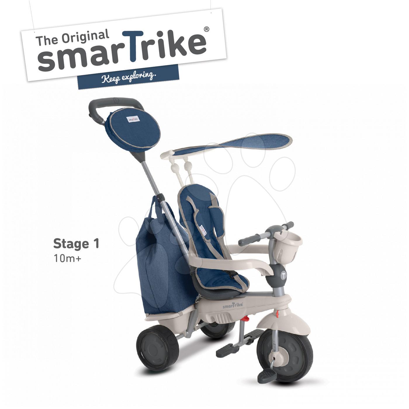 Tříkolka Voyage Touch Steering 4v1 smarTrike s 2 taškami a sluneční clonou modro-šedá od 10 měsíců