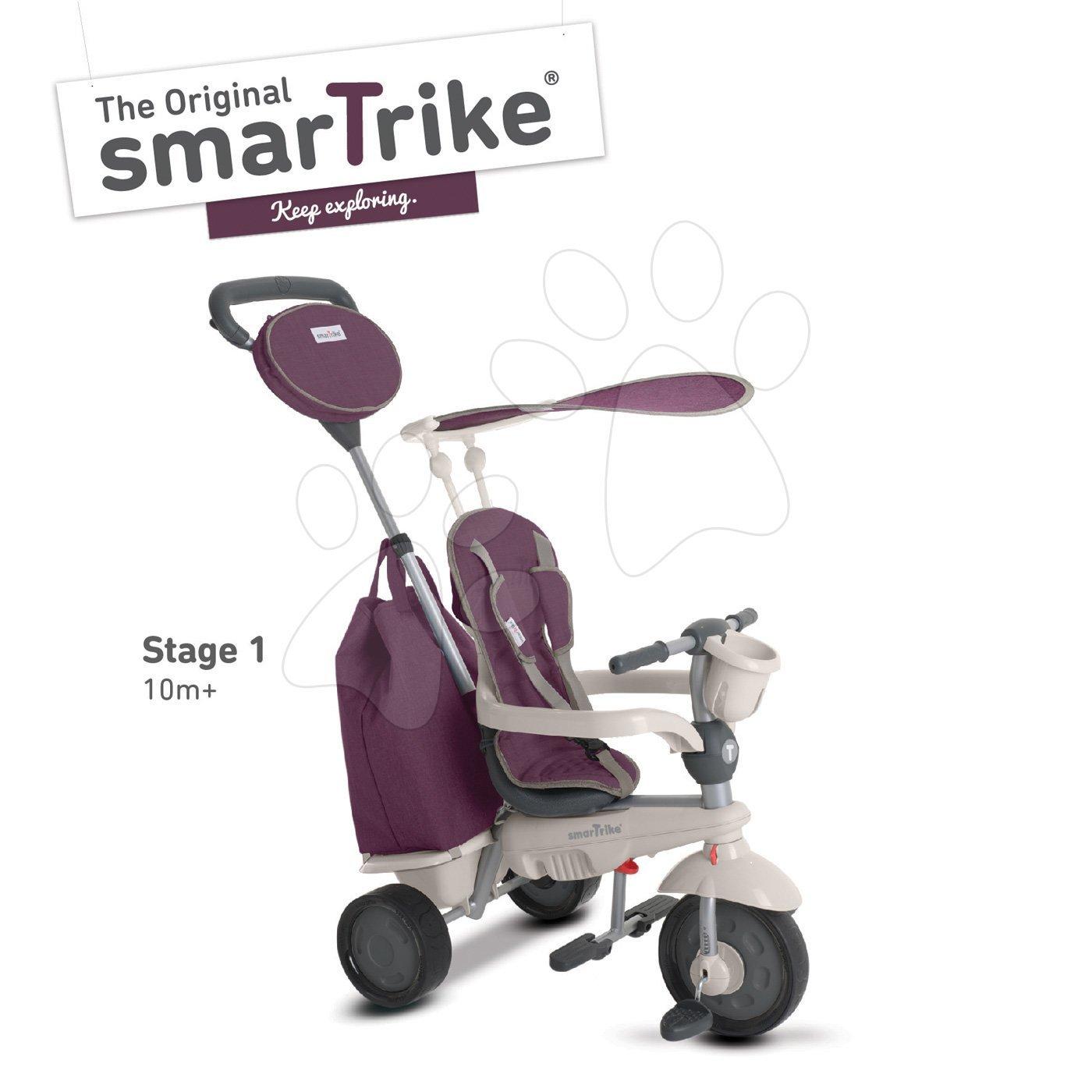 Tricicletă Voyage 4in1 TouchSteering smaTrike mov cu roţi din cauciuc şi cu amortizor și suport de sticlă de la 10 luni