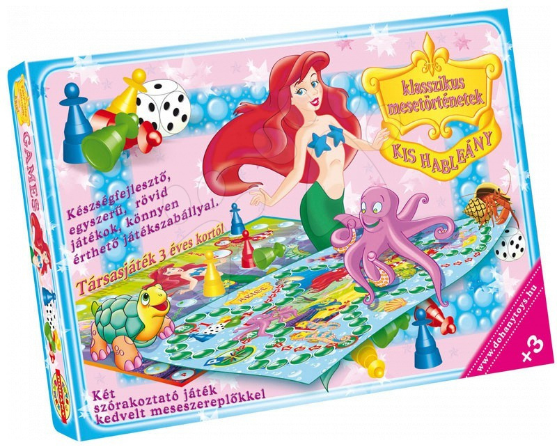 Společenská hra pro nejmenší Malá mořská víla Dohány figurky, kostka a hrací plocha