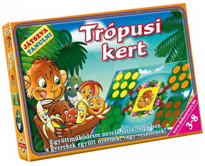 Společenská hra Tropická zahrada Dohány figurky, kostka a hrací plocha od 4 let