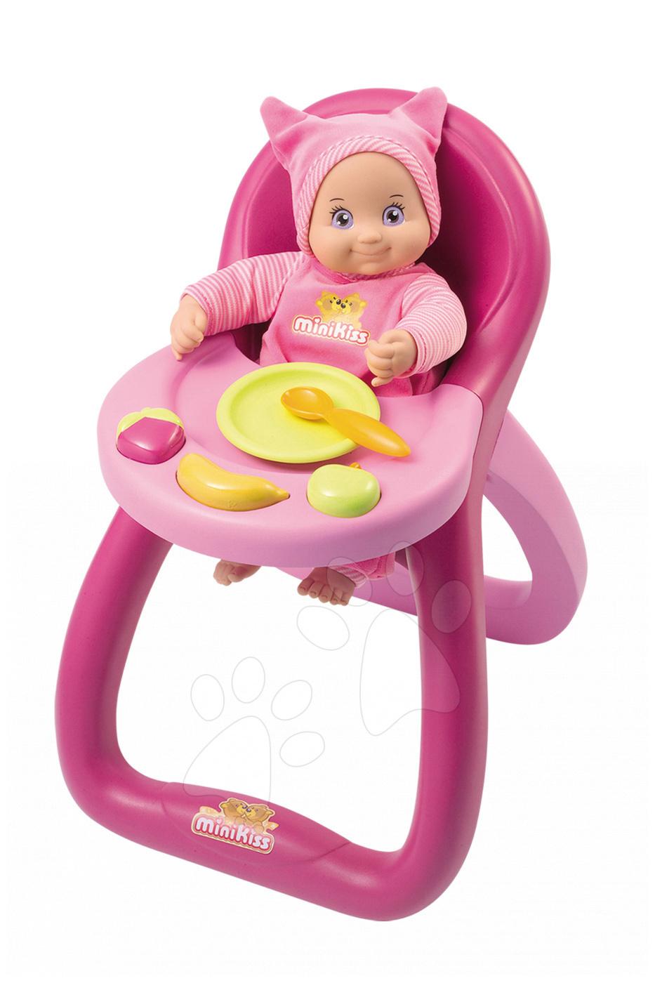 Židličky pro panenky - Jídelní židle MiniKiss Baby Smoby pro 27 cm panenku s potravinami od 12 měsíců