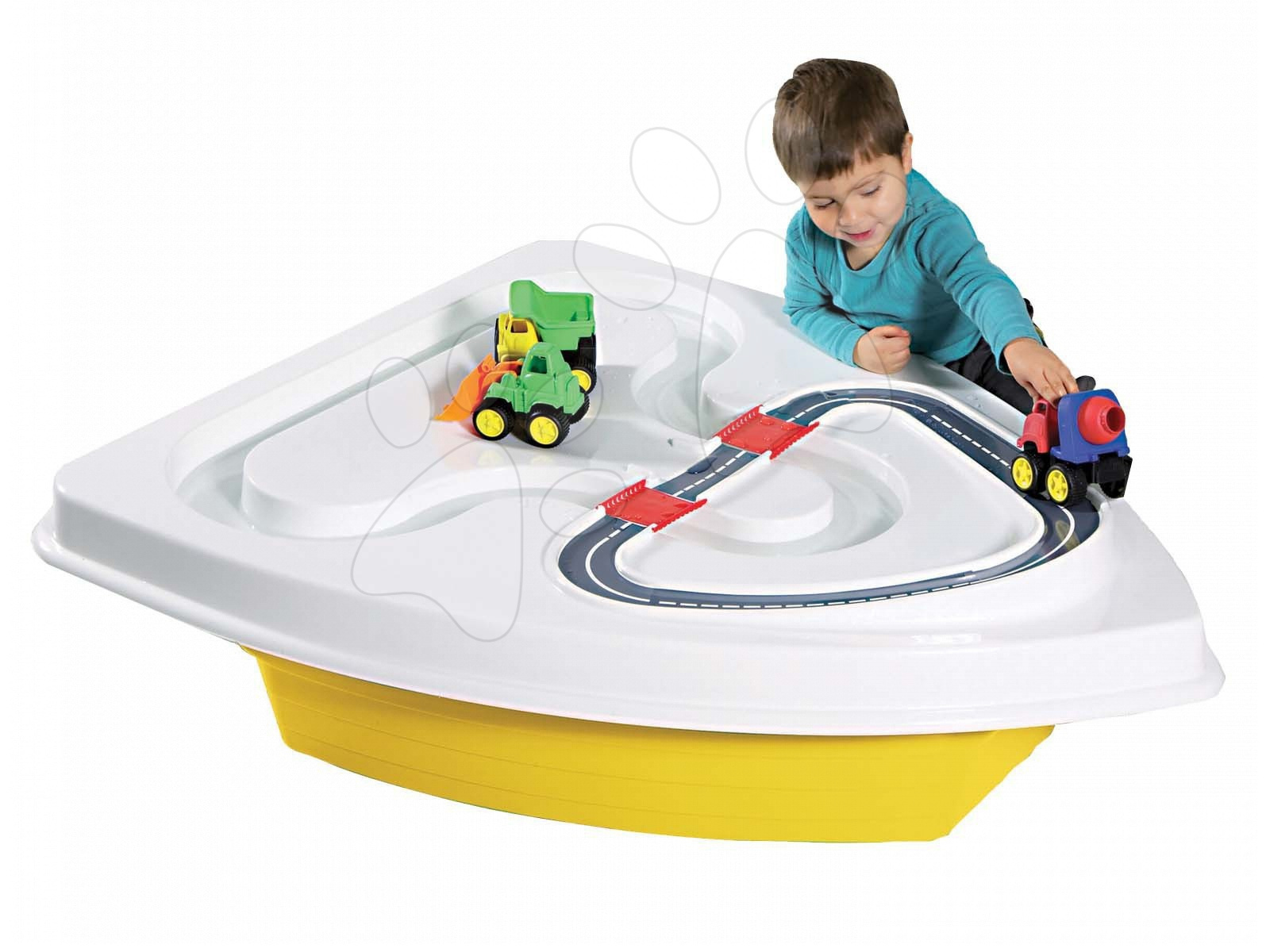 Pieskoviská pre deti - Pieskovisko loďka Starplast s krytom objem 130 litrov žlto-biele od 24 mes