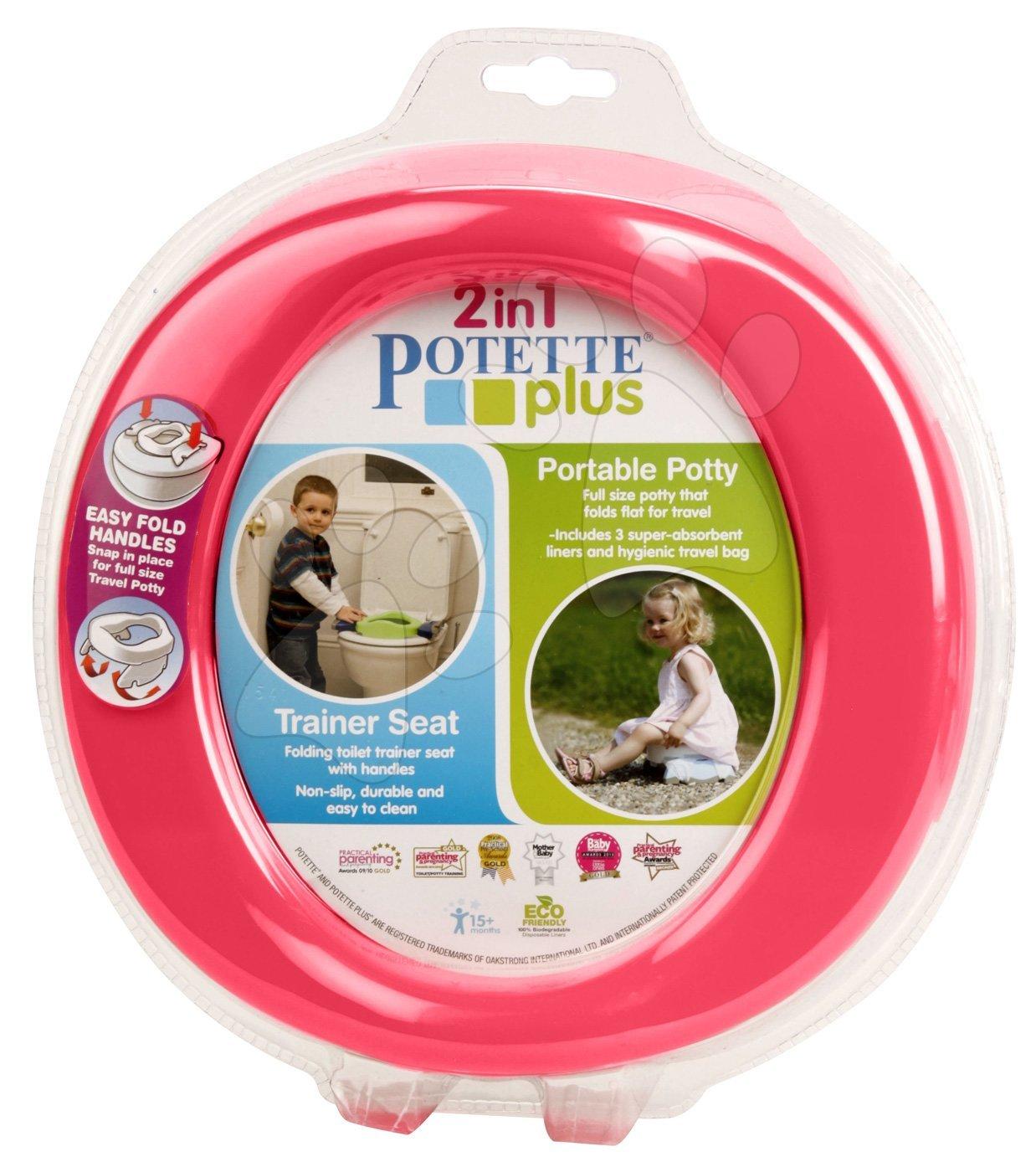 Nočníky a redukce na toaletu - Cestovní nočník/redukce na WC Potette Plus růžovo-fialový od 15 měsíců