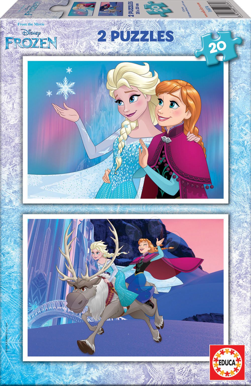 Detské puzzle do 100 dielov - Puzzle Frozen Educa 2x 20 dielov