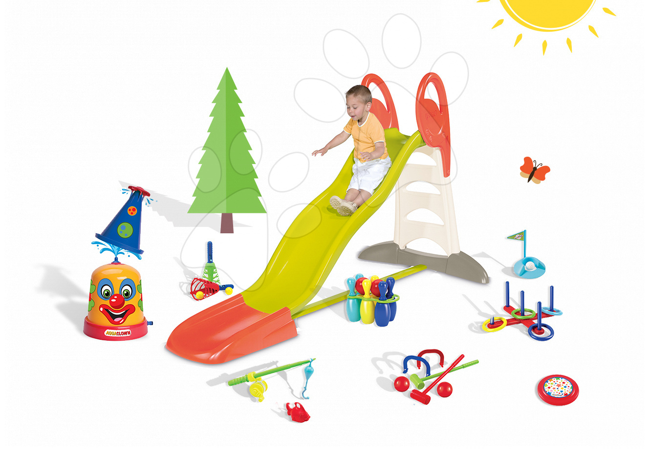 Set skluzavka pro děti Toboggan XL Smoby s vodou délka 2,3 m a stříkací vodní klaun a sportovní set 7 her