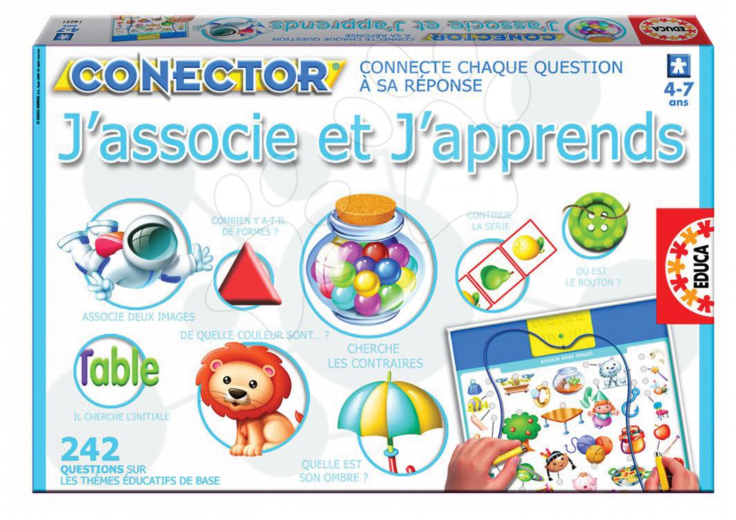 Cudzojazyčné spoločenské hry - Náučná hra Conector J'associe et J'apprends Educa 242 otázok vo francúzštine od 4 rokov