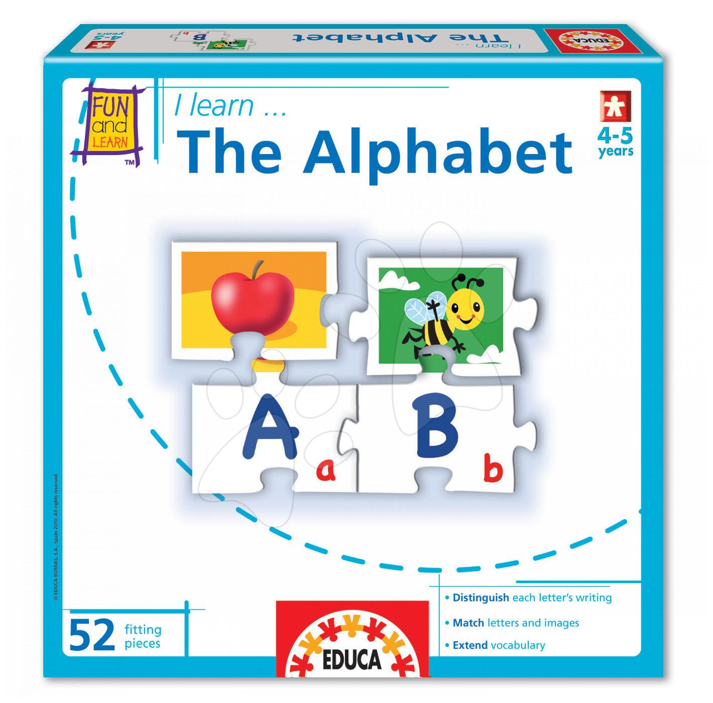 Cudzojazyčné spoločenské hry - Spoločenská hra I learn The Alphabet Educa angličtina 52 dielov