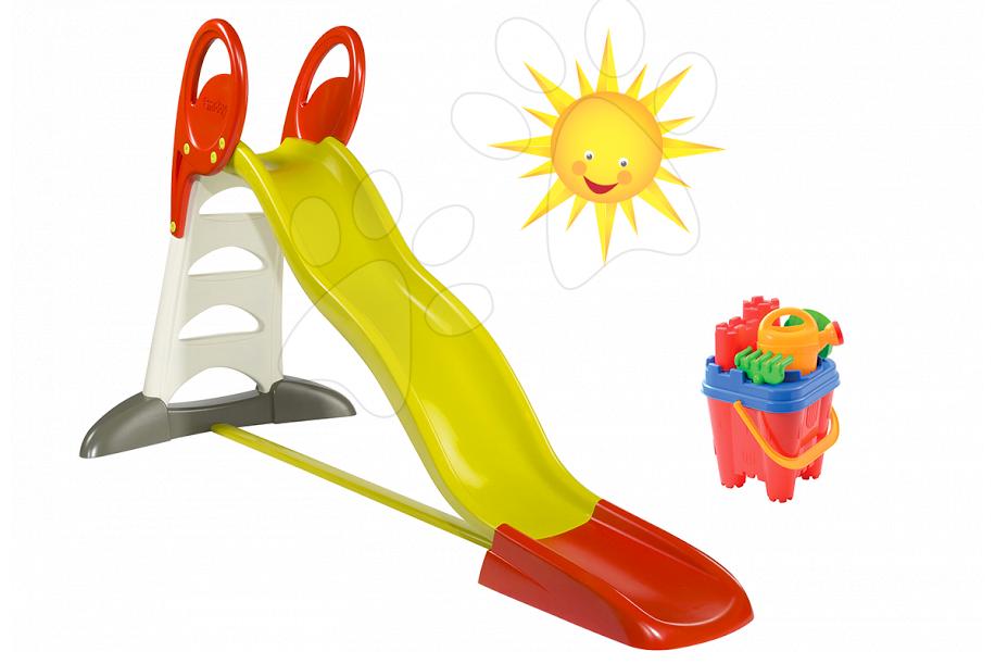 Set dětská skluzavka Toboggan XL Smoby s vodou délka 2,3 m a kbelík set Hrad