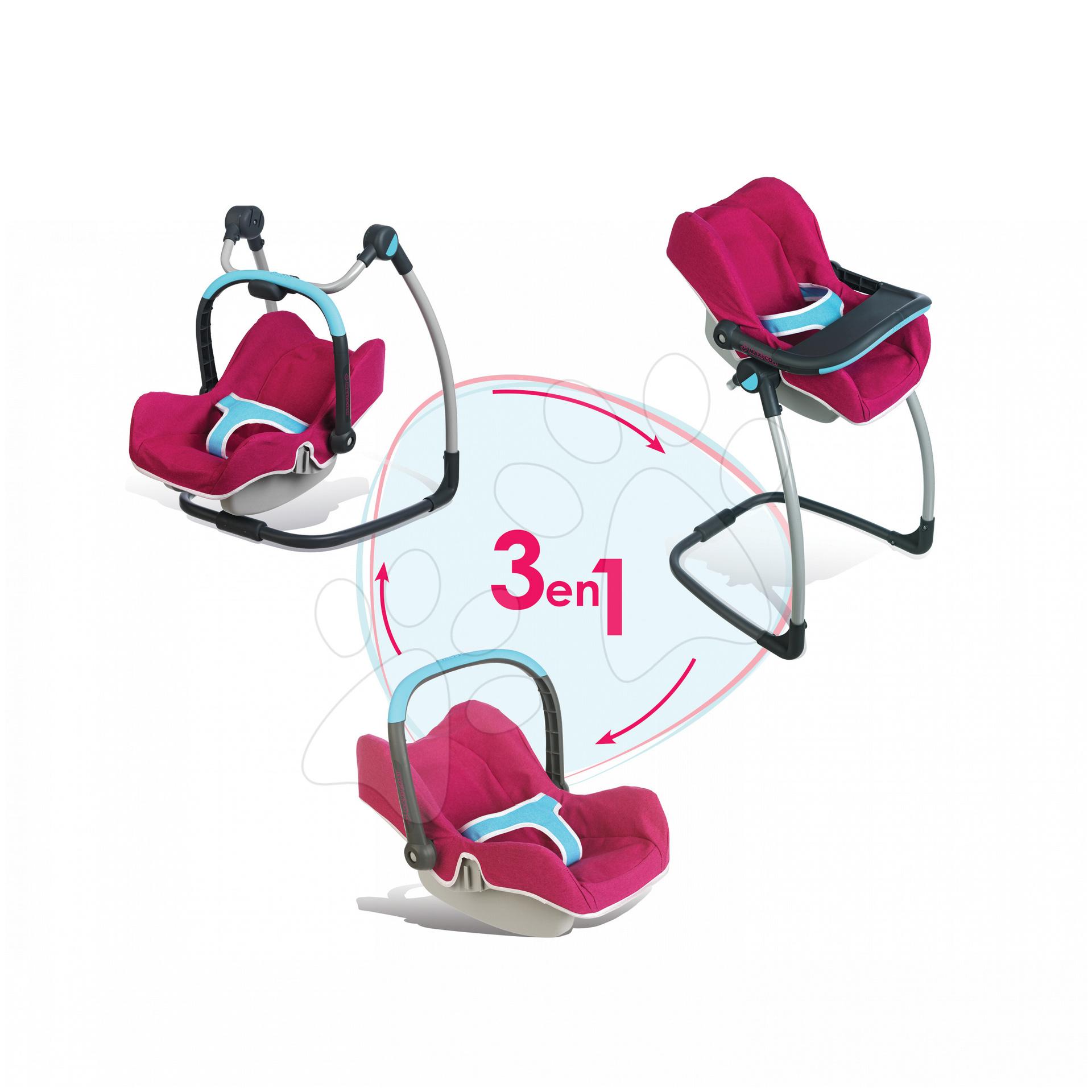 Kočíky od 18 mesiacov - Sada stolička, autosedačka a hojdačka pre bábiku Maxi Cosi & Quinny 3v1 Smoby ružovo-modrá