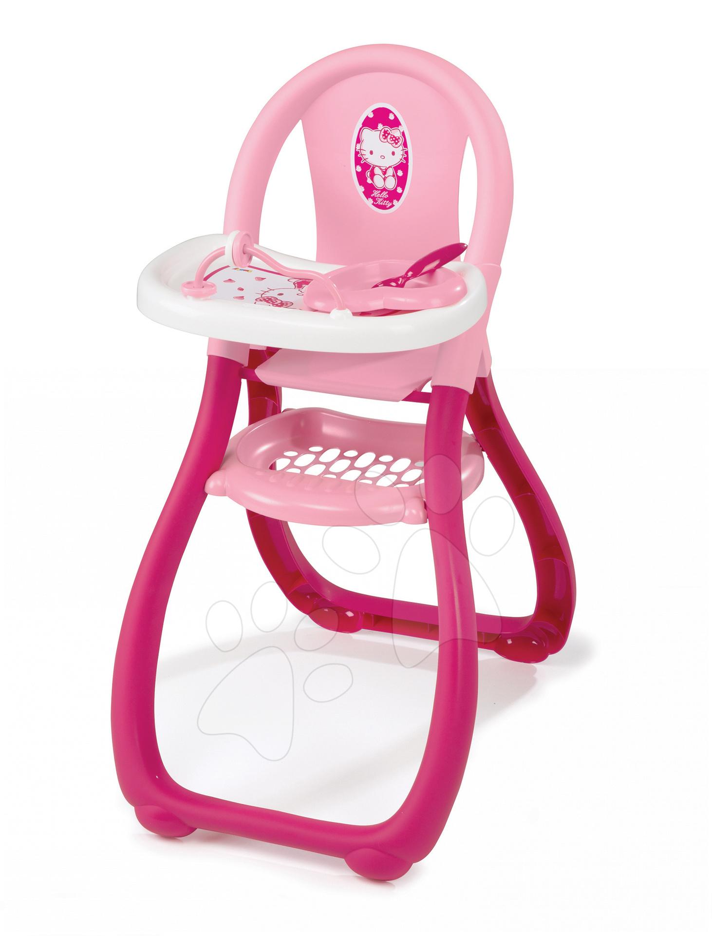Židličky pro panenky - Jídelní židle Hello Kitty Smoby pro 42 cm panenku tmavorůžová od 18 měsíců