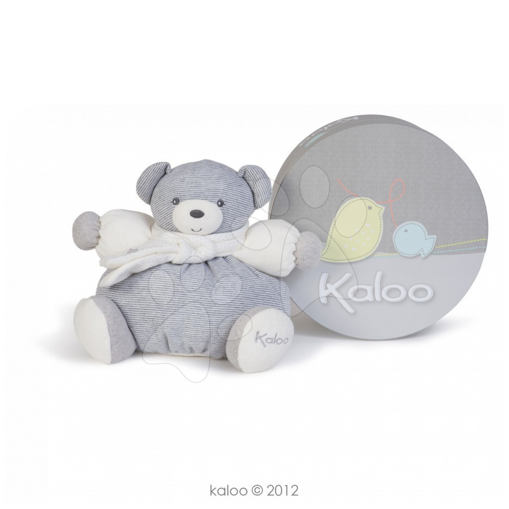 Plyšové medvede - Plyšový medvedík Zen-Chubby Bear Kaloo so šálom 25 cm v darčekovom balení pre najmenších sivý
