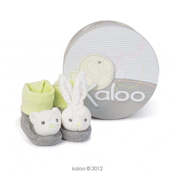 Plyšové bačkůrky s chrastítkem Zen-Booties Kaloo bílo-šedé pro nejmenší děti