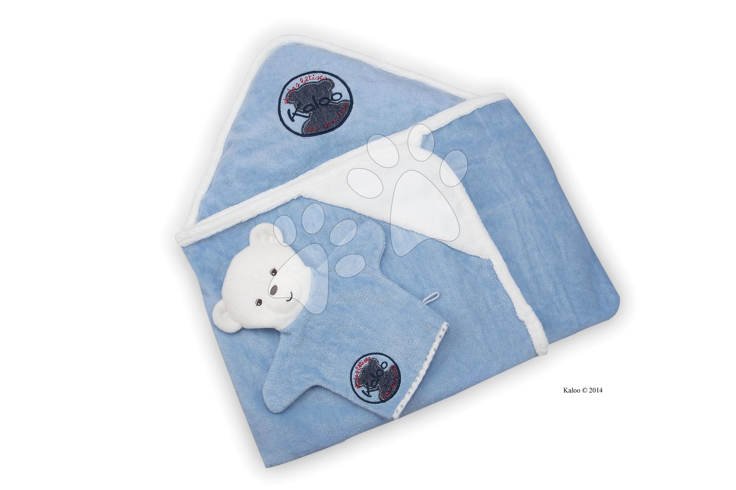 Dojčenské osušky - Osuška s kapucňou pre najmenších Blue Denim-Bath Kaloo so žinkou modrá od 0 mesiacov