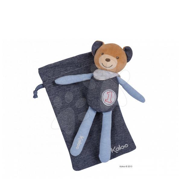 Hračky na maznanie a usínanie - Plyšový medvedík postavička na maznanie Blue Denim-Doudou Kaloo vo vrecku 20 cm pre najmenších modrý