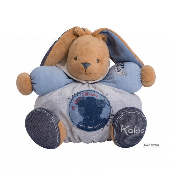 Plyšový zajačik Blue Denim-Chubby Rabbit Kaloo s hrkálkou 30 cm v darčekovom balení pre najmenších modrý