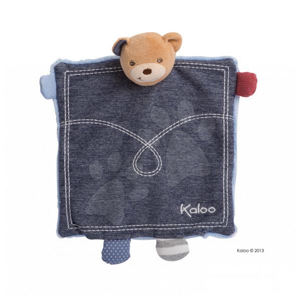 Plyšový medvídek loutkové divadlo Blue Denim-Doudou Kaloo 18 cm v dárkovém balení pro nejmenší modrý