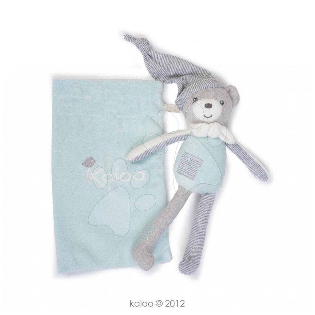 Hračky nad postieľku - Plyšový medvedík postavička na maznanie Zen-Doudou Kaloo vo vrecku 20 cm pre najmenších belasý