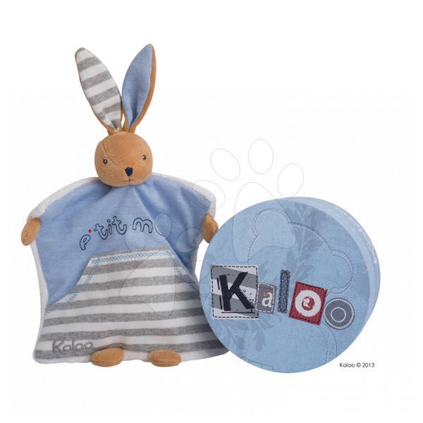 Hračky na mazlení DouDou - Plyšový králíček loutkové divadlo Blue Denim-Doudou Kaloo 18 cm v dárkovém balení pro nejmenší modrý