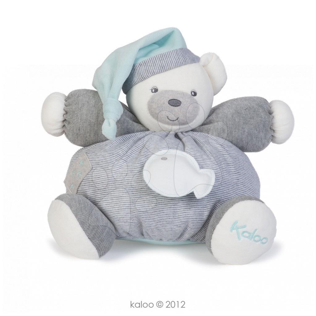 Plyšové medvede - Plyšový medvedík Zen-Chubby Bear Kaloo s hrkálkou 30 cm v darčekovom balení pre najmenších šedý