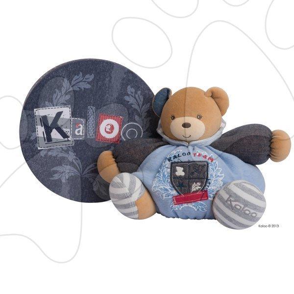 Plyšové medvede - Plyšový medvedík Blue Denim-Chubby Bear Kaloo s hrkálkou 30 cm v darčekovom balení pre najmenších modrý