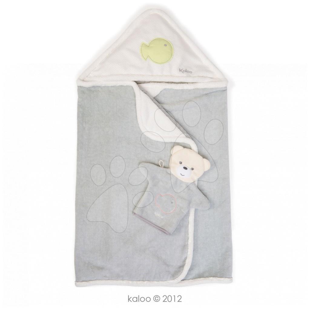 Osuška s kapucí pro nejmenší Zen-Bath Kaloo se žínkou bílo-šedá od 0 měsíců