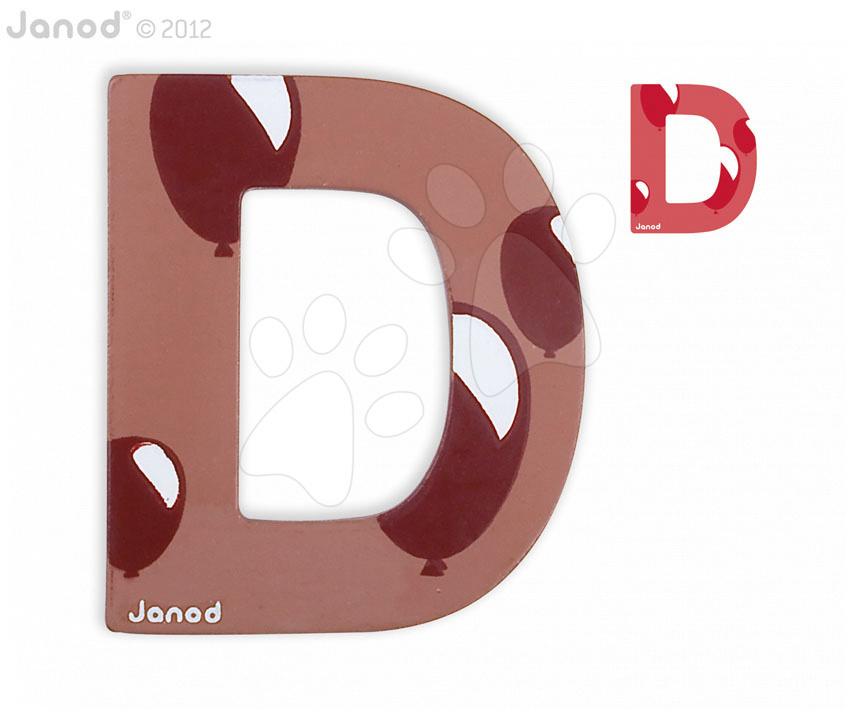 Dřevěné písmeno D ABCDeco Janod lepící 9 cm hnědé/červené od 3 let