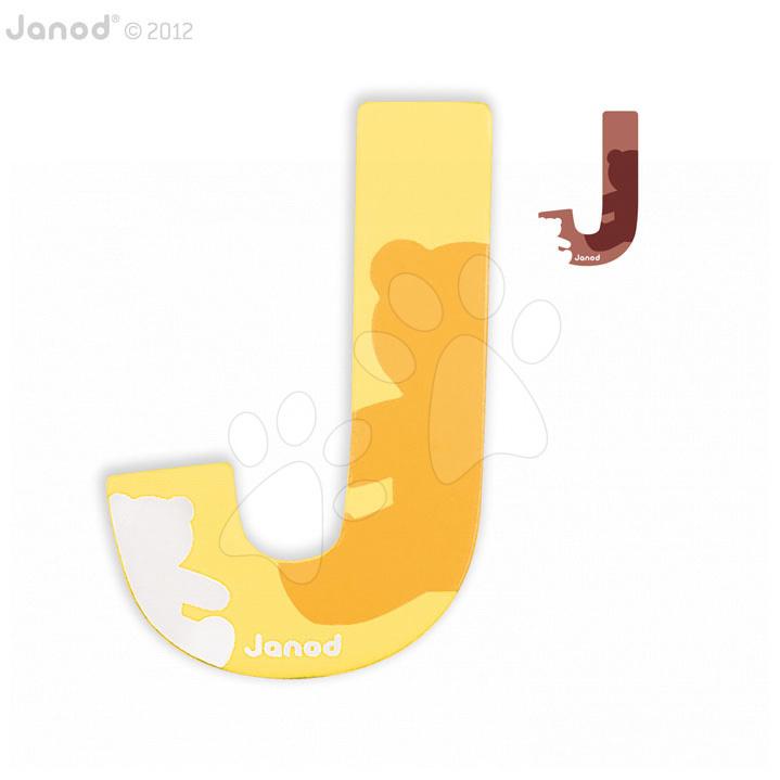 Drevené písmeno J ABCDeco Janod lepiace 9 cm žlté/hnedé od 3 rokov