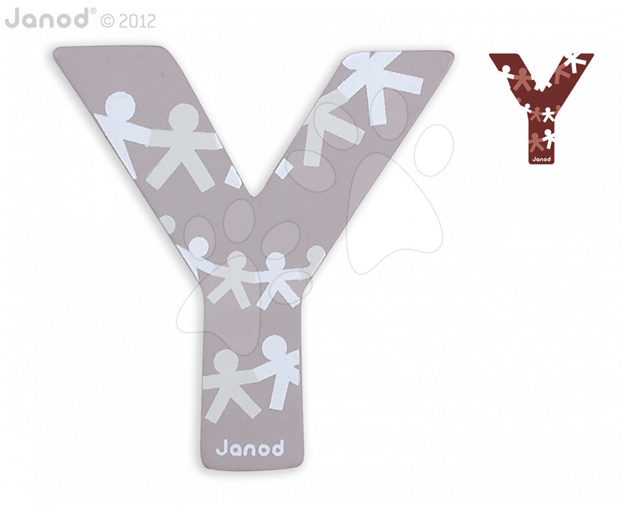 Dřevěné písmeno Y ABCDeco Janod lepící 10 cm šedé/hnědé od 3 let