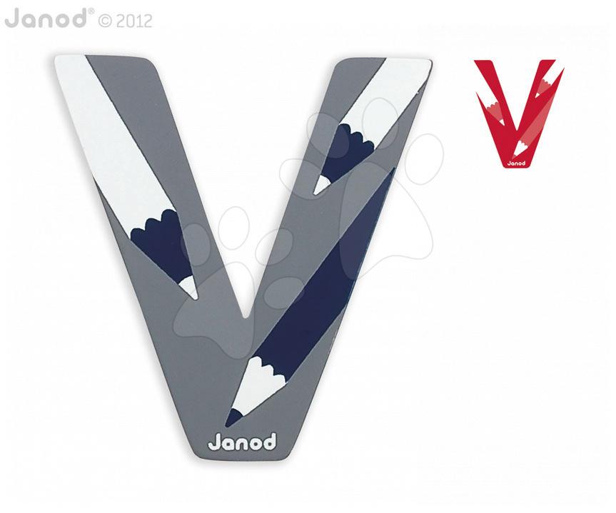 Dřevěné písmeno V ABCDeco Janod lepící 9 cm modré/červené od 3 let