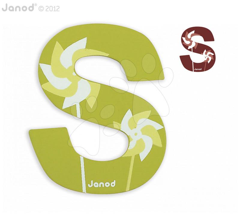 Dřevěné písmeno S ABCDeco Janod lepící 9 cm zelené/hnědé od 3 let