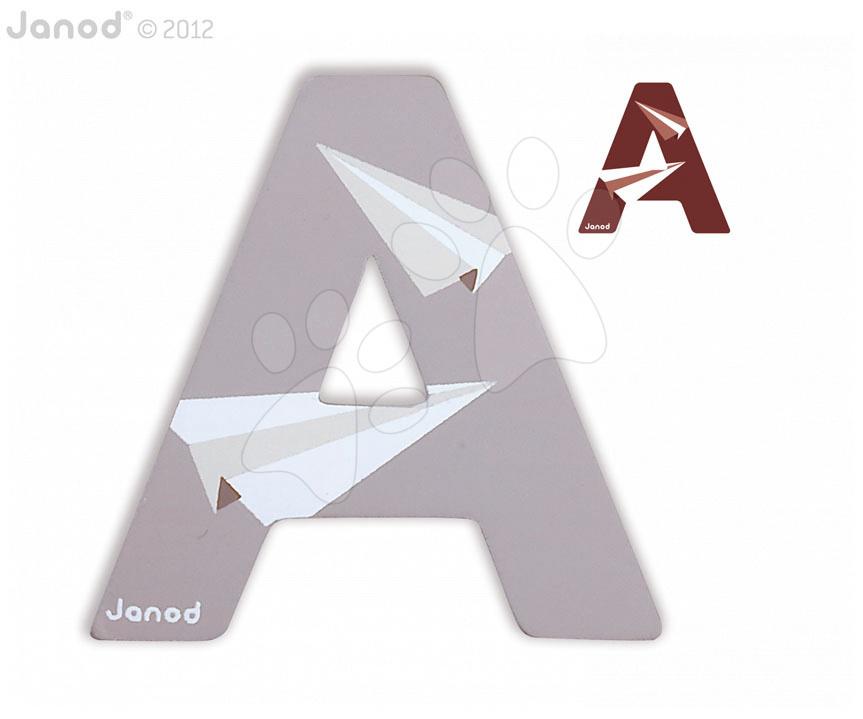 Dřevěné písmeno A ABCDeco Janod lepící 10 cm šedé/hnědé od 3 let