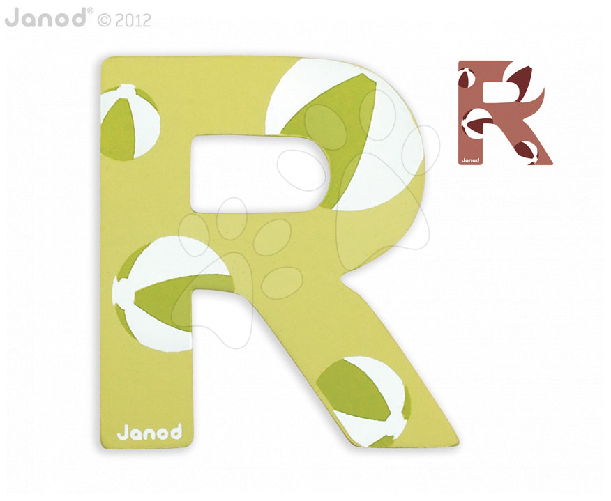 Dřevěné písmeno R ABCDeco Janod lepící 9 cm zelené/hnědé od 3 let