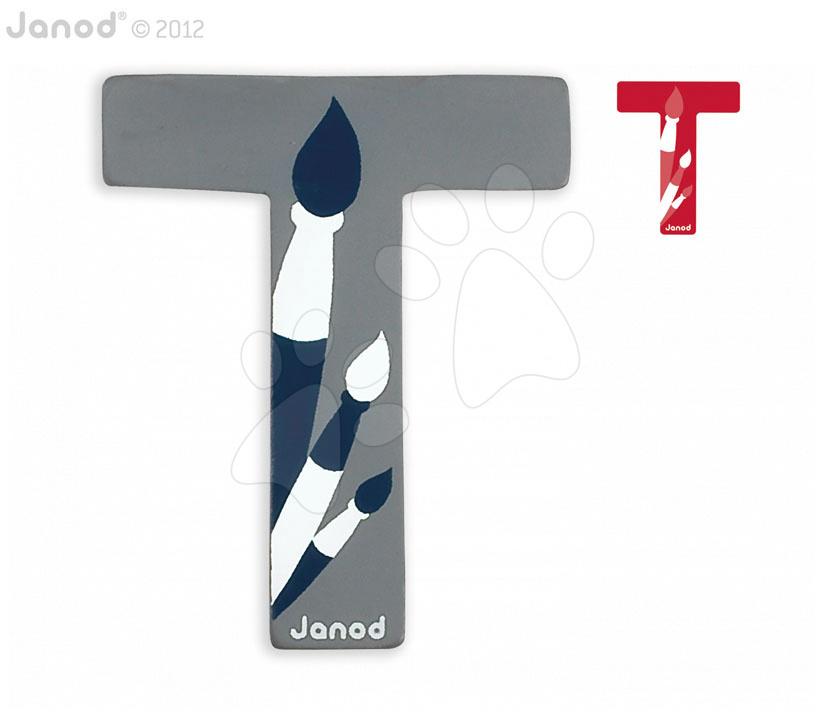 Drevené písmeno T ABCDeco Janod lepiace 9 cm modré/červené od 3 rokov