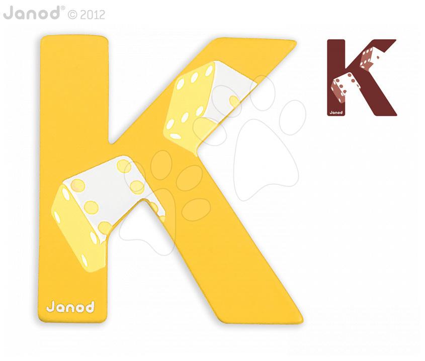 Drevené písmeno K ABCDeco Janod lepiace 10 cm žlté/hnedé od 3 rokov